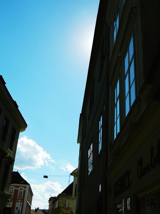 Summertime Old Town Holiday Summer Trip Street Small City Sky Znojmo Czech Republic Traveling Sky And Clouds Blue Colour Of Life Reflection Colour Palette Eyeemphoto
