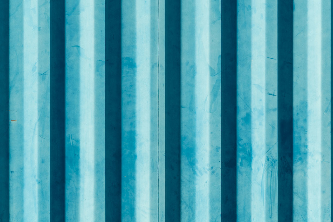 Backgrounds Blue Close-up Container Corrugated Corrugated Iron Day Full Frame Metal No People Outdoors Pattern Repetition Striped Striped Pattern Turquoise Colored