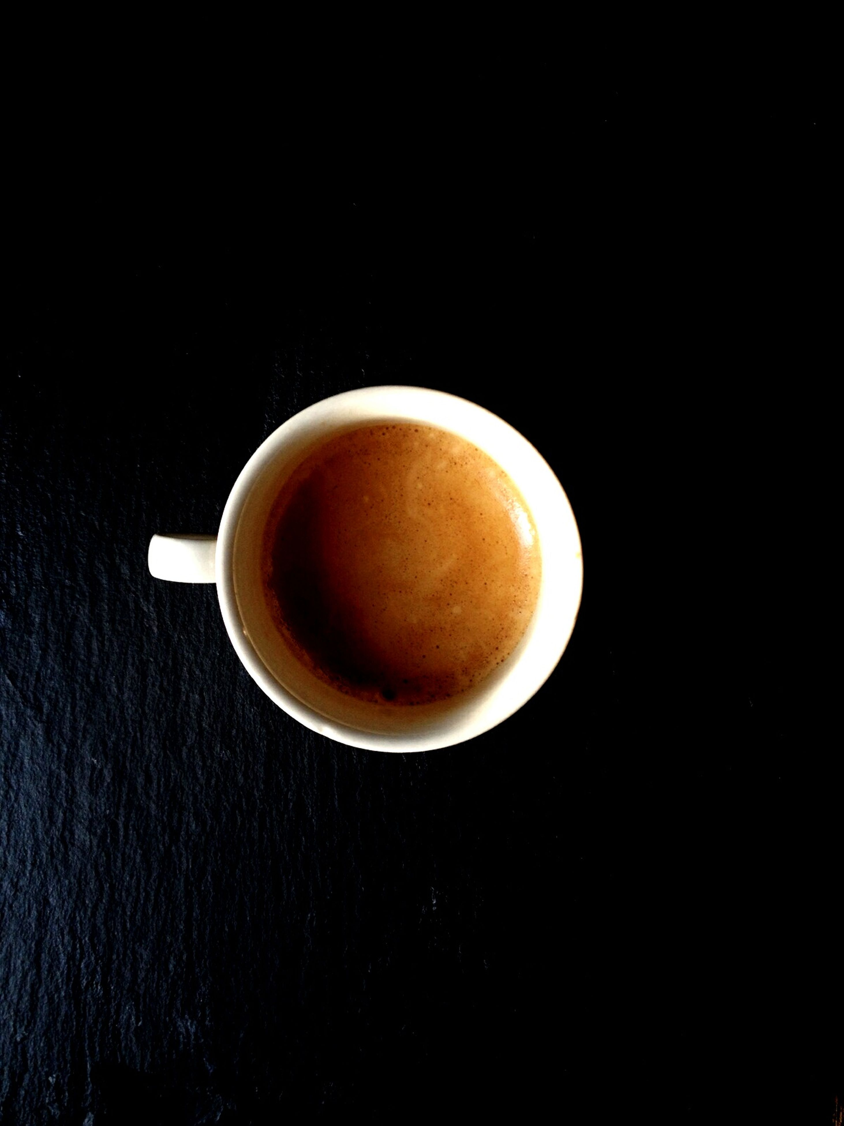 coffee cup, drink, food and drink, refreshment, coffee - drink, freshness, coffee, saucer, indoors, studio shot, still life, cup, table, close-up, directly above, black background, copy space, healthy eating, beverage, high angle view