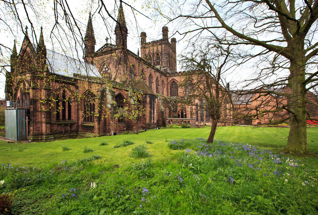 Chester Cathedral in early spring mood Architecture Athmosphere Britain British Building Exterior Built Structure Cathedral Cheshire Chester Day Early Morning Early Spring England Eye4photography  EyeEm EyeEm Gallery Grass M Nature No People Old Buildings Outdoors Sky Tree Uk