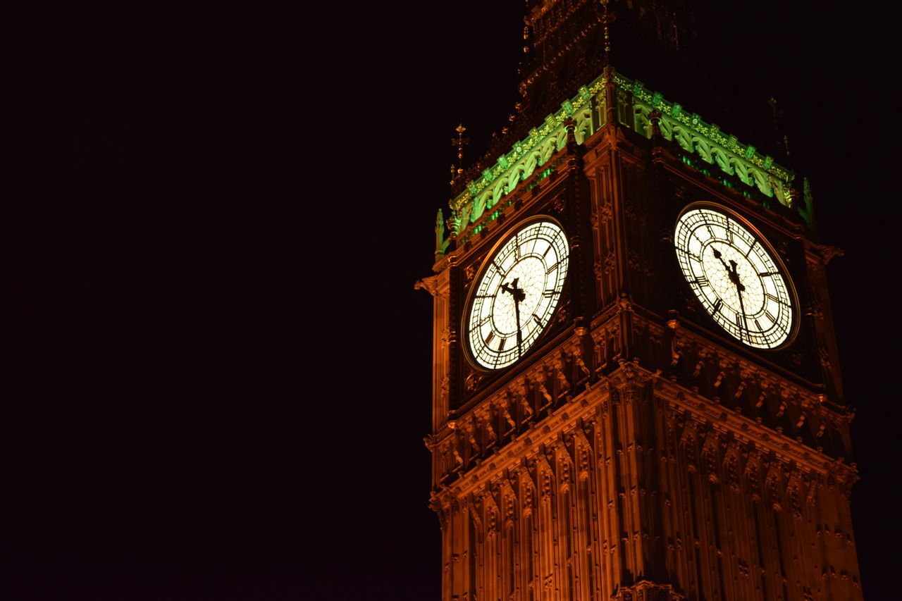 Architecture Big Ben Big Ben London Big Ben, London Building Exterior Built Structure City Clock Clock Face Clock Tower Close-up From Below Hour Hand Illuminated London Low Angle View Minute Hand Night Night Time No People Outdoors Roman Numeral Time