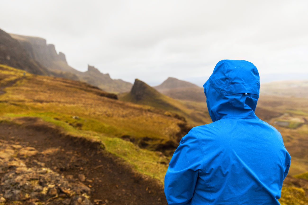 Wet weather in the Isle of Skye, Scotland Adult Day Isle Of Skye Landscape Leisure Activity Moody Mountain Nature One Person Rain Rear View Standing Walking