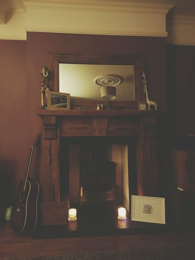 Indoors  Memories Fireplace Woodburner My Favorite Place Guitar Music Picture Frame
