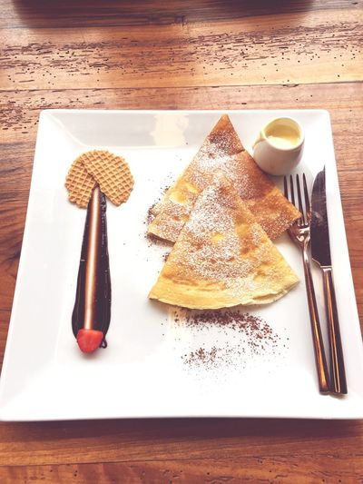 Food And Drink Still Life Plate Indoors  Food High Angle View Table No People Fork Sweet Food Freshness Serving Size Dessert Close-up Ready-to-eat Cheesecake Day Crêpes Happiness Chocolate