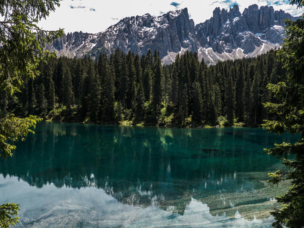 Alto Adige Beauty In Nature Lago Di Carezza Dolomites, Italy Idyllic Karersee Lake Carezza Landscape Majestic Mountain Mountain Range Nature Non Urban Scene Outdoors Reflection Lago Di Carezza Trentino Dolomiti WelschnofenTranquility Travel Destinations Nova LevanteTree
