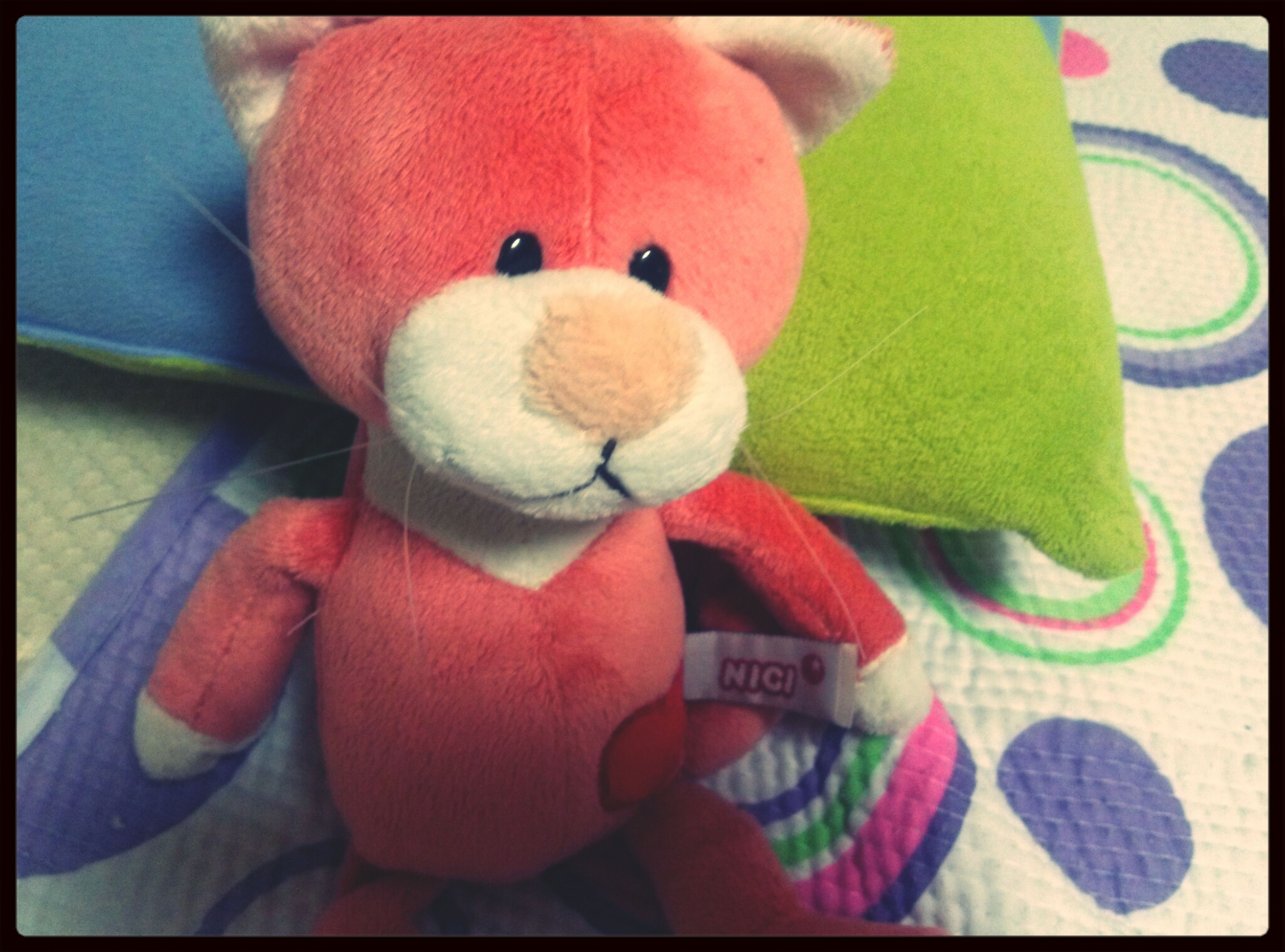 transfer print, indoors, auto post production filter, toy, close-up, animal representation, stuffed toy, art, still life, art and craft, creativity, childhood, no people, multi colored, human representation, home interior, teddy bear, high angle view, focus on foreground, pink color