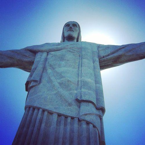 Daydream... Brasil ♥ Brasilien Blau Sky Blue Sky Blue Statue Christus Cocovado Rio De Janeiro Rio De Janeiro Rio Son Sohn  Jesus Gott God