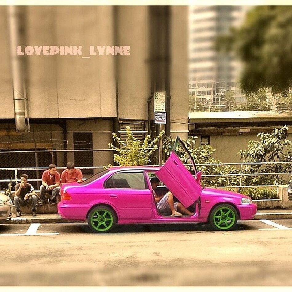Saw this babay parked outside th building. Cant help to stare at its gorgeous color Pink Magenta Car Office
