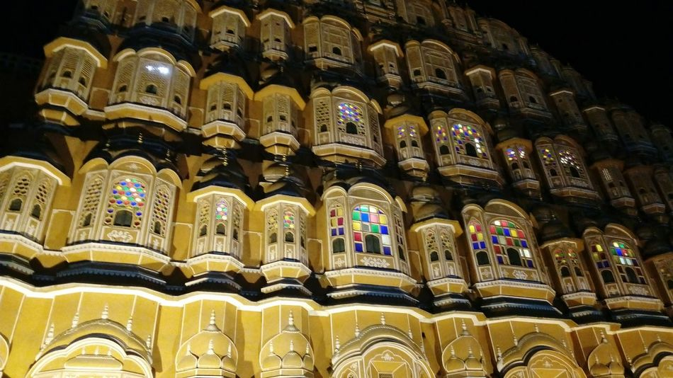 In A Row Travel Destinations No People Illuminated Night Outdoors Built Structure Building Exterior Architecture City Low Angle View Outdoors Photograpghy  Hawa Mahal Jaipur Tourist Place Jaipur Diaries Palace