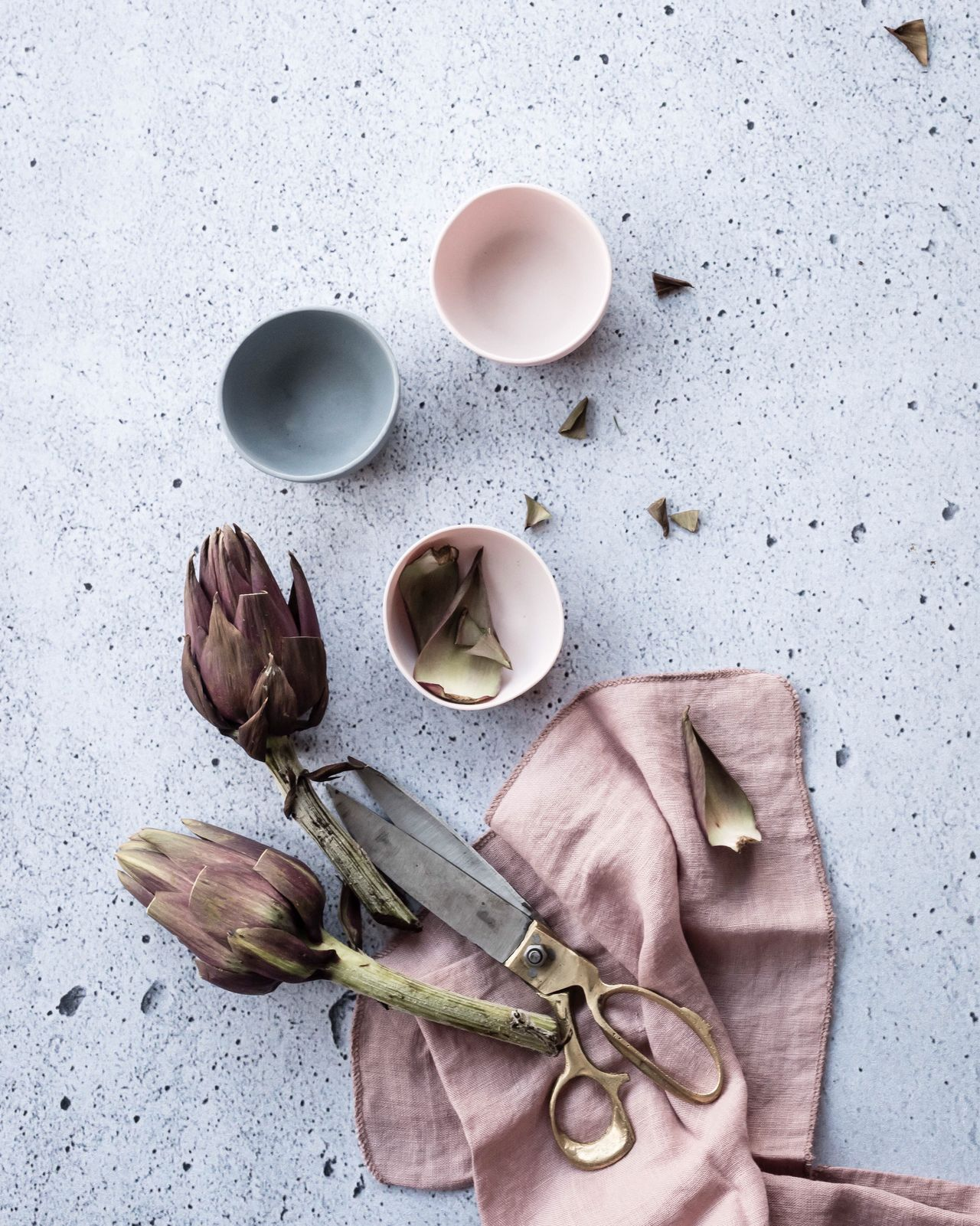 Artichokes TheWeekOnEyeEM Styling Photography Food And Drink Studio Shot No People Ingredient Lifestyle Photography Foodphotography Table On The Table Home Directly Above From Above  Tablescene Cooking Cooking At Home Dinner Preparation  Porcelain  Muted Tones