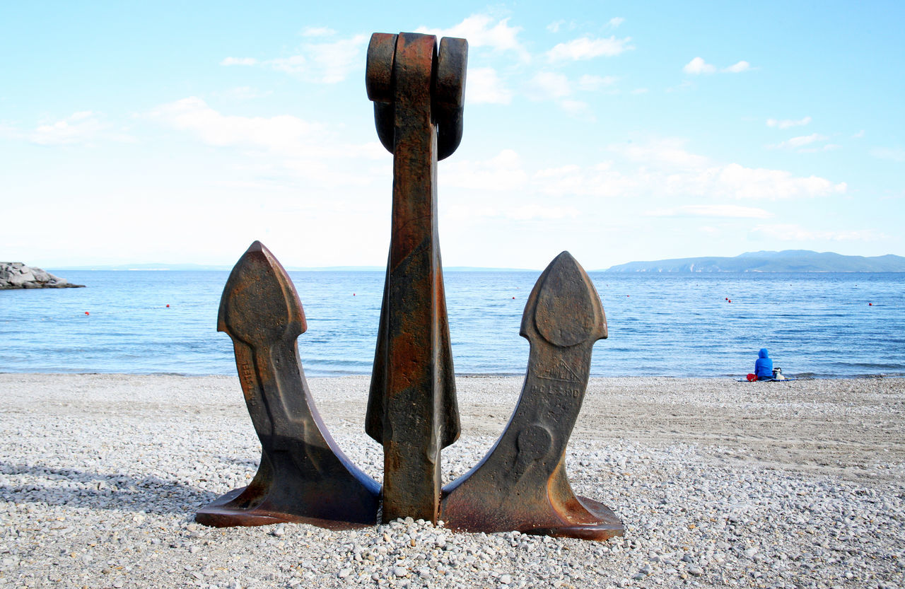 Icici,Adriatic coast,before the summer season,Croatia,Europe,21 Adriatic Coast Anchor Attractive Beach Before Summer Season Blue Day Decoration Eu Europe Horizon Over Water Icici Kvarner Bay Metal Nature Old One Person Outdoors Peaceful Rusty Scenics Sea Tranquility Waiting Water