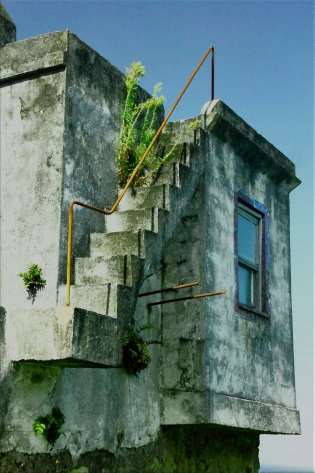 Look-See Architecture Blue Building Exterior Built Structure Clear Sky Damaged Day Exterior Flores Island Landscape Look-out Low Angle View No People Outdoors Overgrown And Beautiful Ponta Delgada Stairway To Heaven Weathered Window