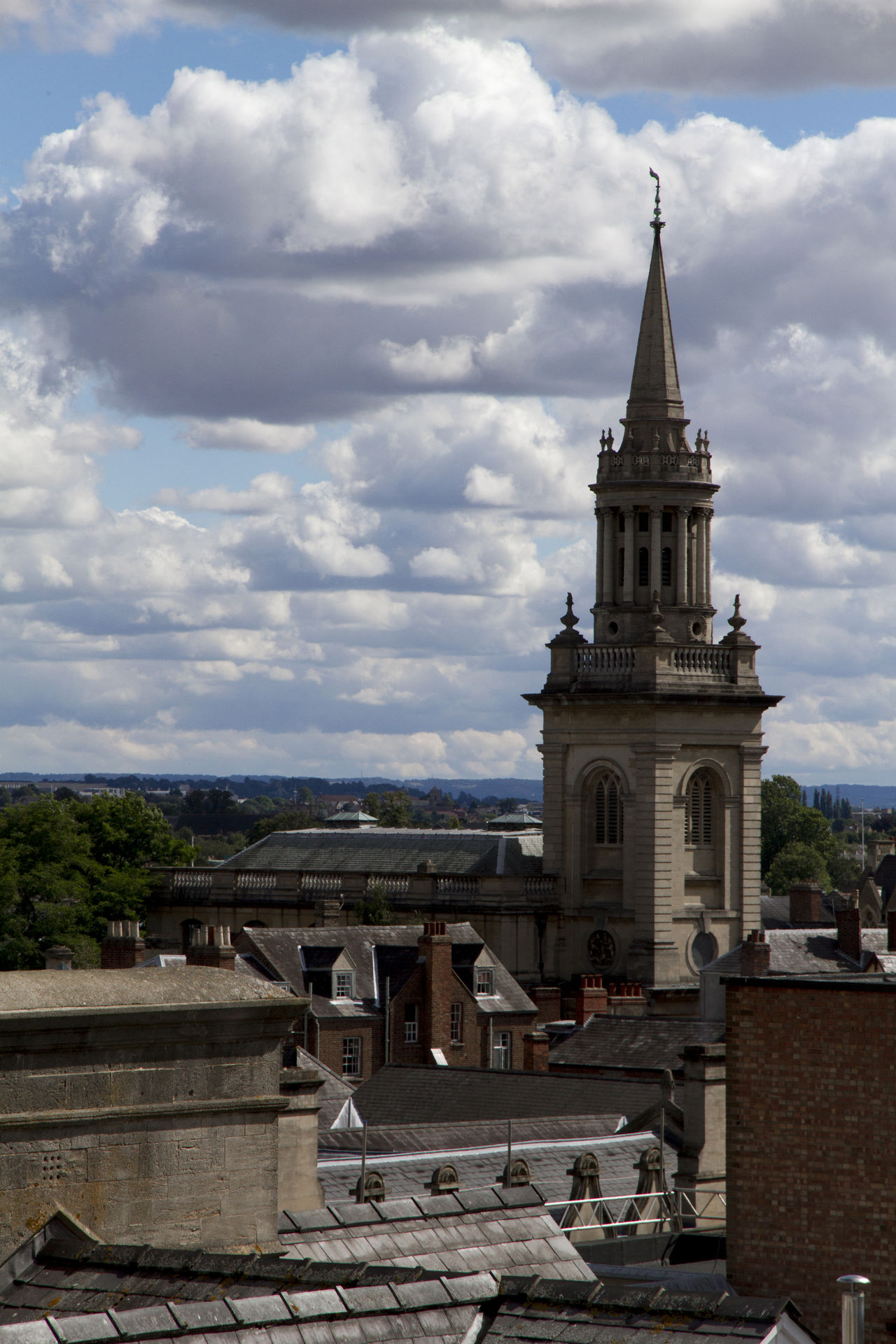Architecture Built Structure Church Cloud Cloud - Sky Cloudy Day No People Outdoors Overcast Roofs Roofs And Towers Sky Tourism Tower Travel Destinations Weather Spire  Rooftop Birds Eye View Town Church Tower From St Michael's
