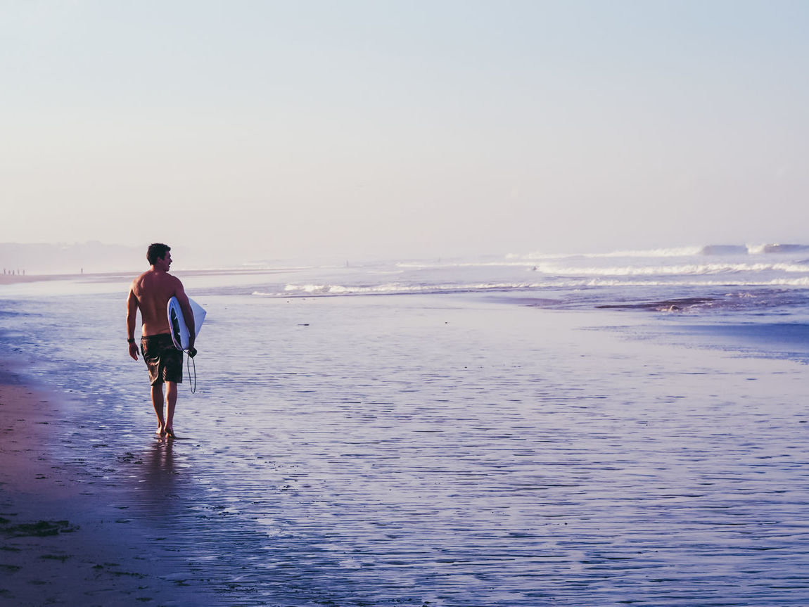 Sea Beach One Person Walking Vacations Outdoors People Water Travel Surf Surfing Surfer Bali Summer Sunset Tranquility Travel Photography