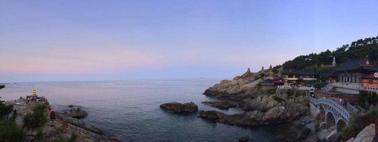 Taking Photos Korea Korean Temple Architecture Panorama Sunset Ocean View IPhoneography