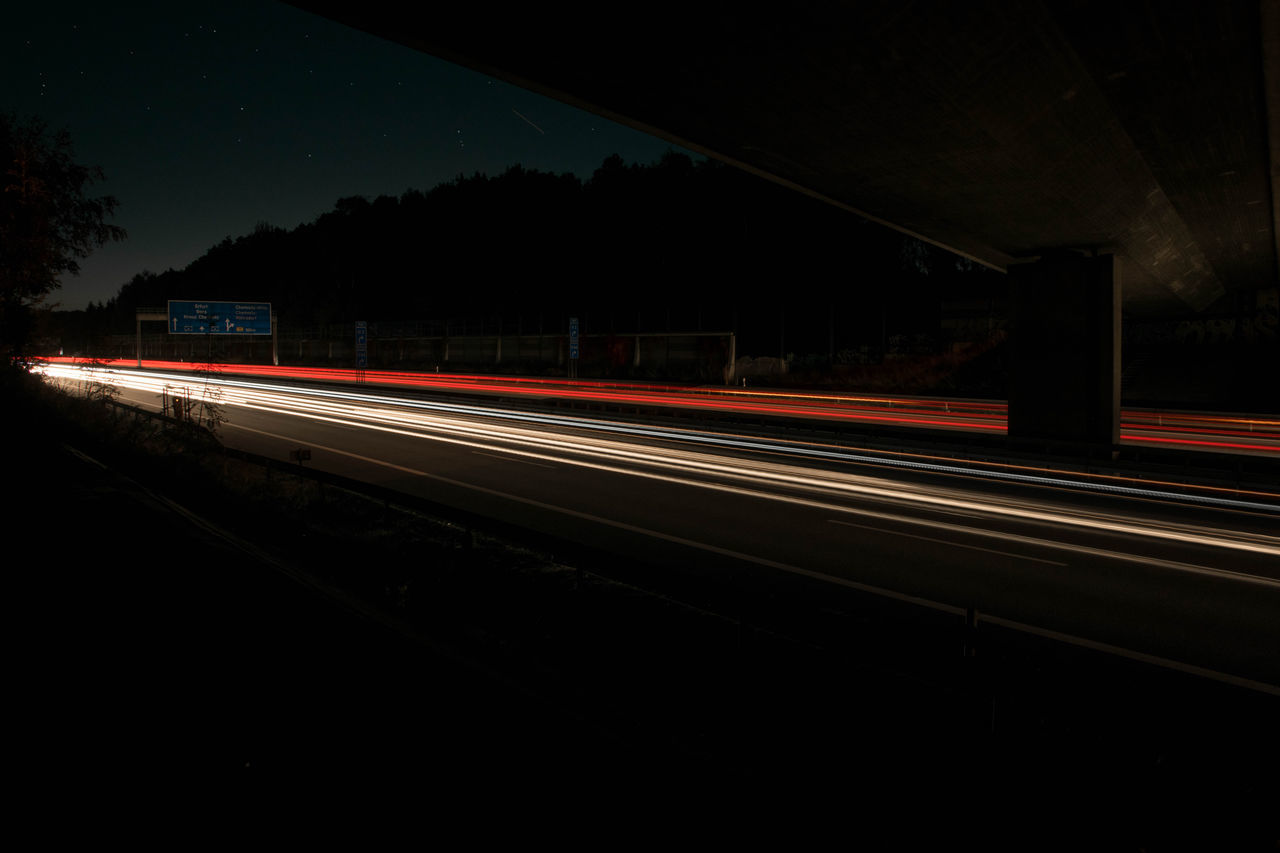 Motion lights A4 Capturing Motion Night Transportation Traffic Road Outdoors Blurred Motion Motion Lights Light Long Exposure Light Trail Highway Traffic Chemnitz Germany Motorway Light Strips Freeway Speed Sachsen Astronomy Star - Space Skyporn Starry Sky