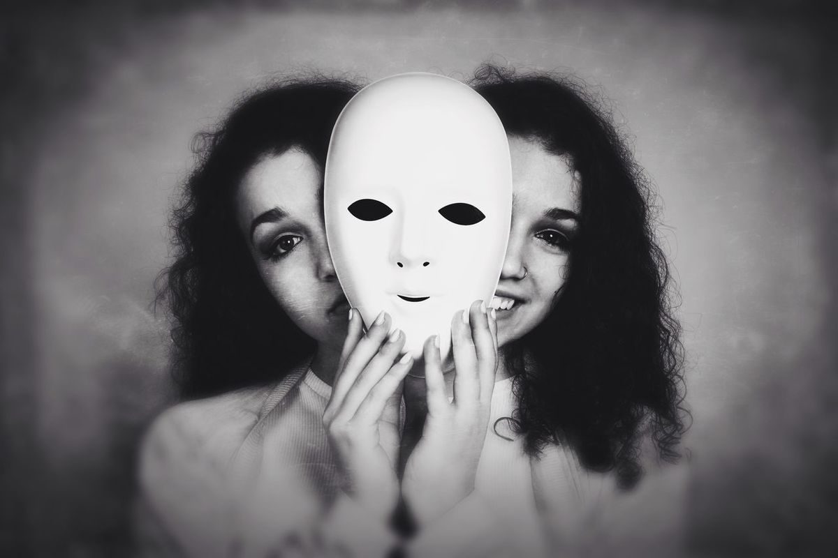 Mask Happy Sad Face Twofaced Girl Woman Bipolar Schizophrenia Manic Depression 2 Faces Smiling Laughing Emotion