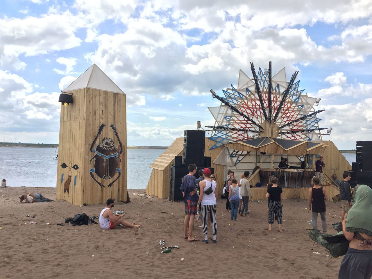 Beach Bergheider See Cloudy Day Feel Festival 2016 Festival Happy Party People Sunny