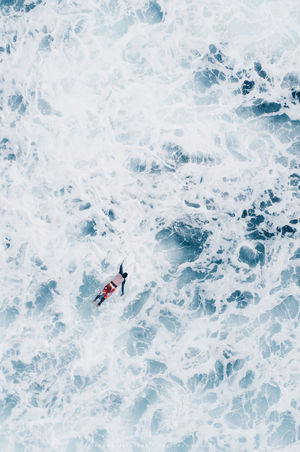 foamed surfer Aerial Shot Surf Adventure Aerial Aerial View Beauty In Nature Day High Angle View Leisure Activity Lifestyles Men Motion Nature One Person Outdoors People Real People Water Waterfront Waves, Ocean, Nature