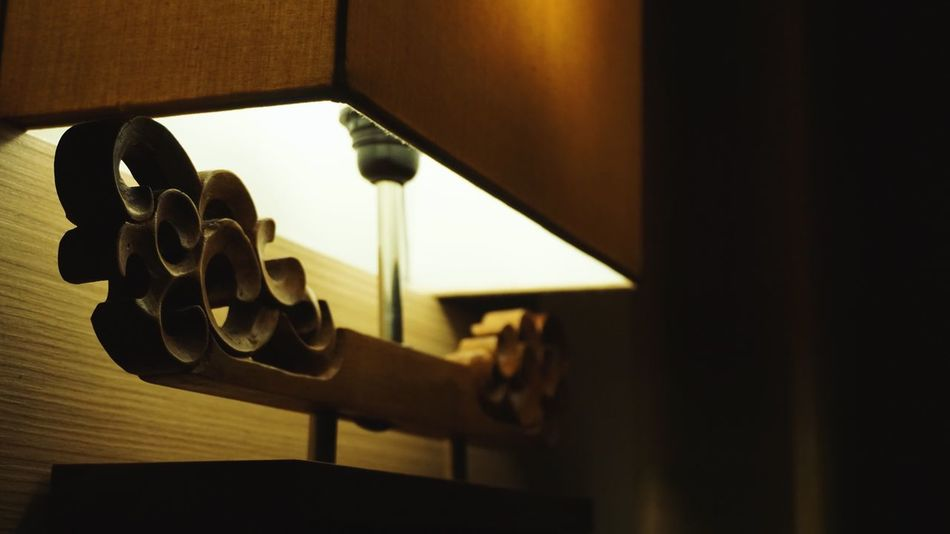 Indoors  Relaxation Close-up No People Side Lamp Lamp Lamplight Bed Side Darkness And Light Wood - Material