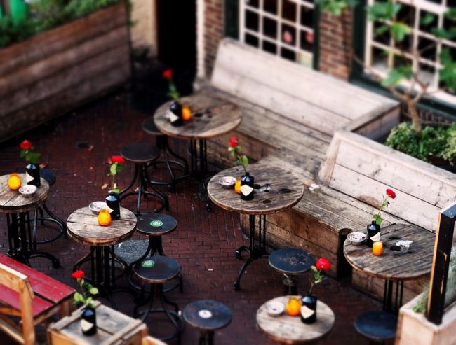 Cute Bar Terrace Wooden Tables