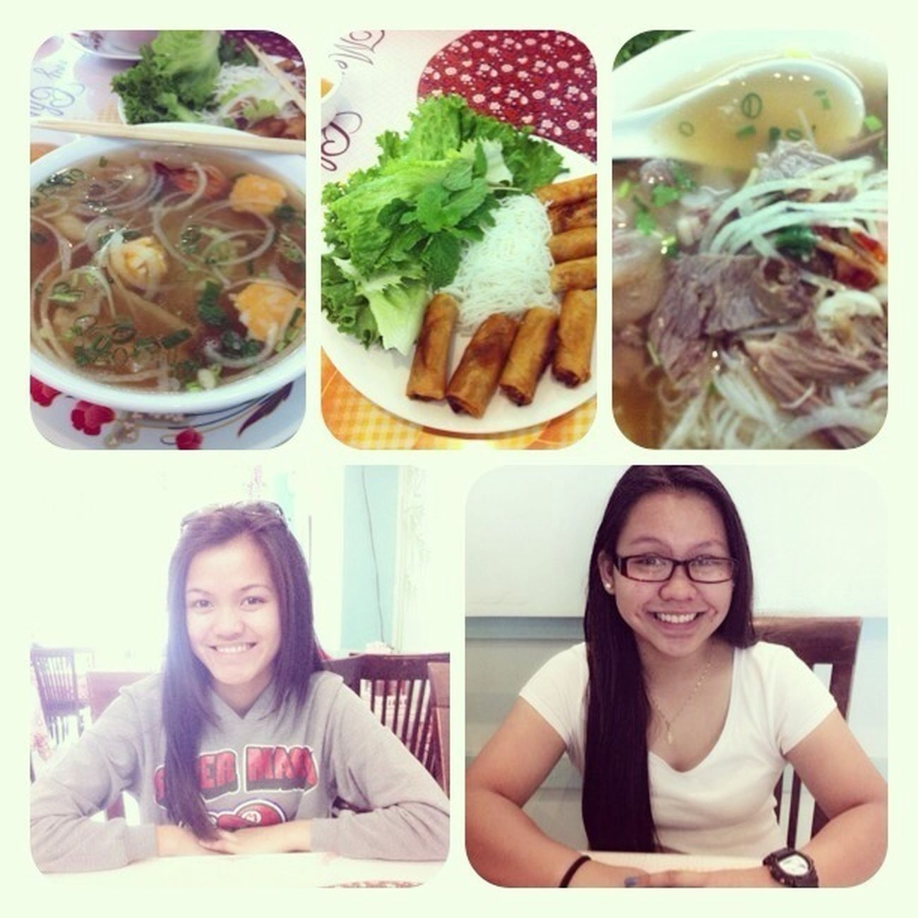 Pho date with sistur! #springroll #combination #seafood
