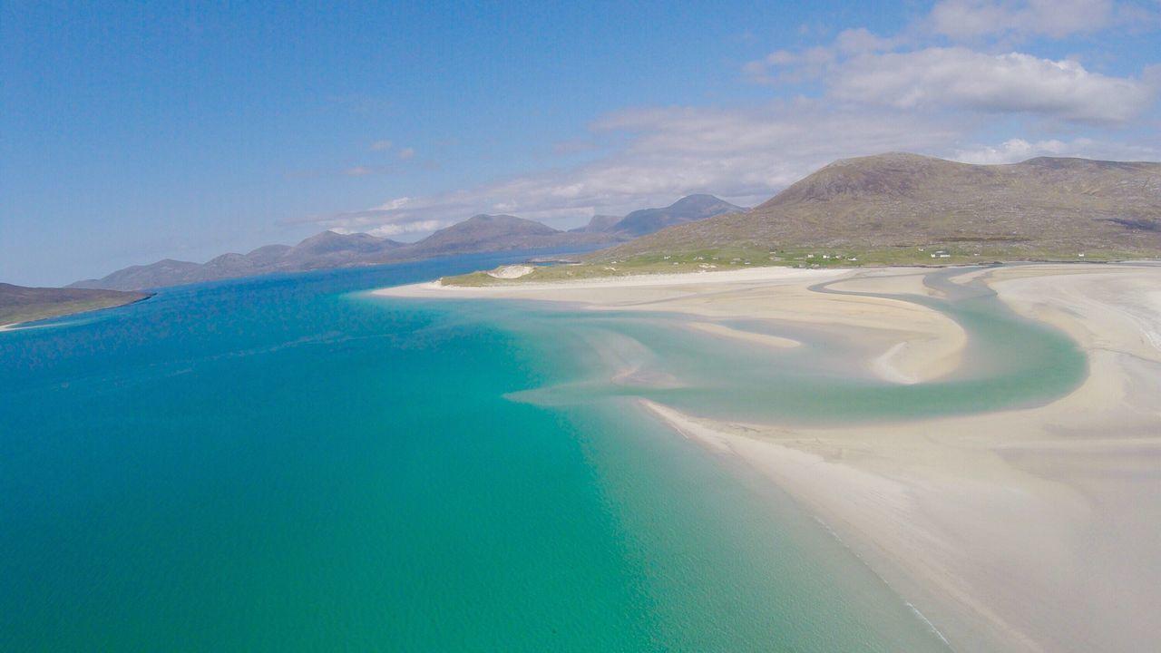 Scotland Seilebost Beach Luskentyre Beach Isle Of Harris Nature Scenics Beauty In Nature Landscape Mountain Travel Destinations Idyllic Water Aerial View Day No People