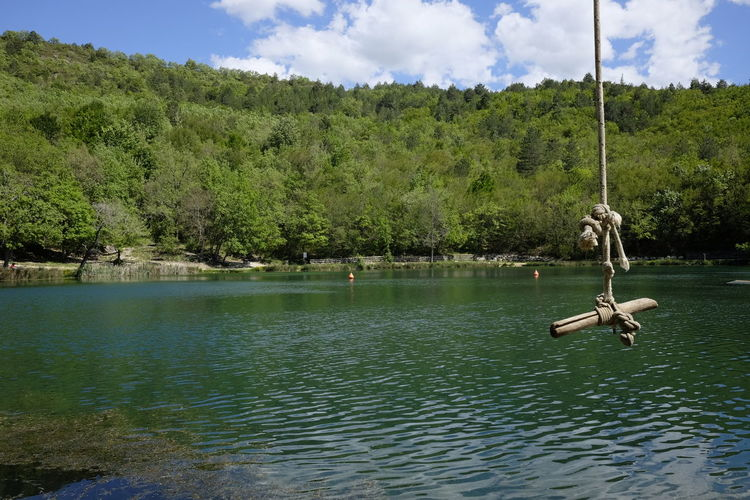 Rope for jumping into the lake Beauty In Nature Cloud - Sky Day Lake Mountain Nature Nautical Vessel No People Outdoors Rope Swing Scenics Sinizzo Sky Tranquil Scene Tranquility Tree Water Waterfront