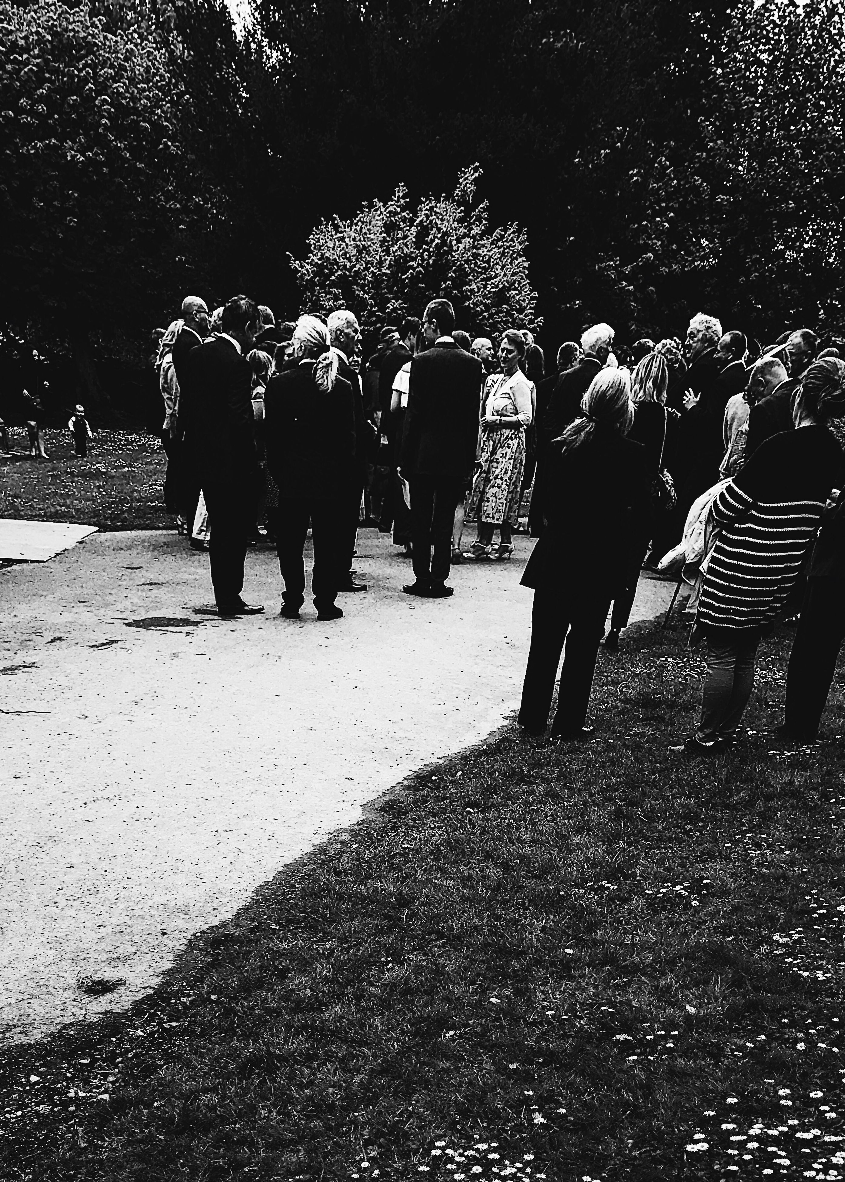 large group of people, real people, men, women, tree, outdoors, day, full length, nature, adult, people