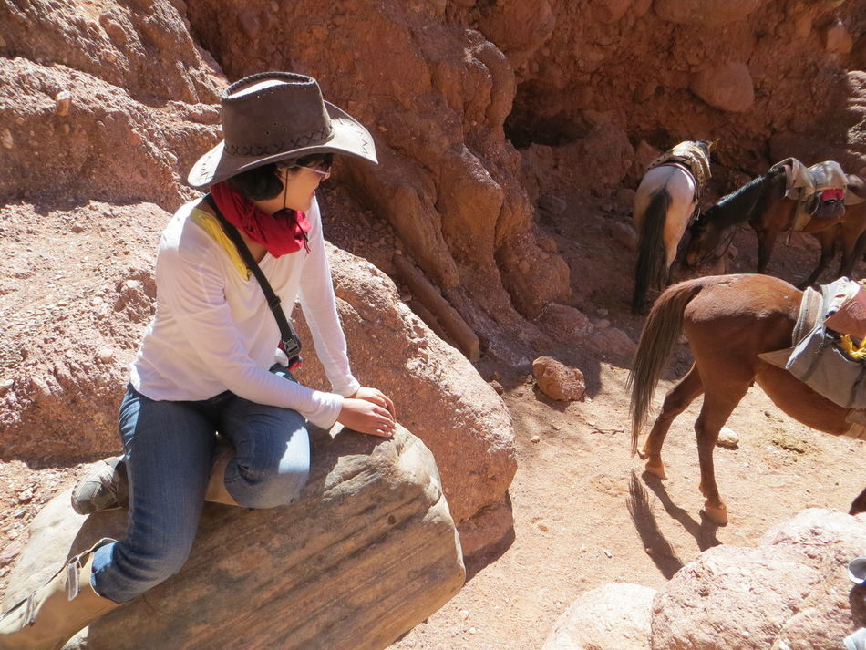 Ancient Arid Climate Bolivia Brown Carefree Cowboy Cowboy Girl Cowboy Hat Damaged Desert Enjoyment Eroded Escapism Geology Horses Mountains Old Ruin Rock Rock Formation Rough Stone Stone Wall Textured  The KIOMI Collection