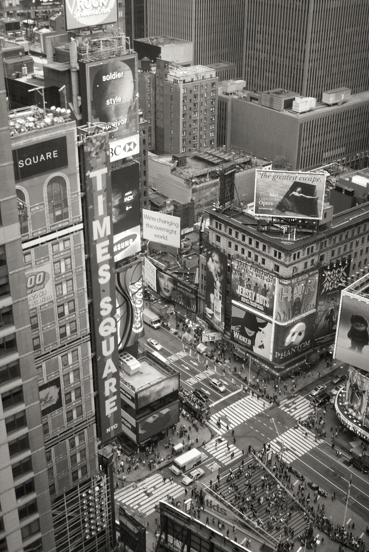 Times Square from the 34th floor of the Marriott Marquis hotel in Times Square, New York City. 9th October 2009. Times Square New York City Marriott Marquis Looking Down The Big Apple Black & White Theatre Billboards I Love New York New York In Monochrome