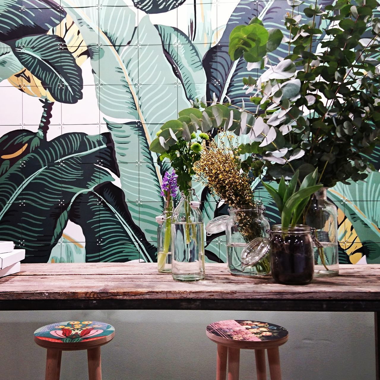 Flower Plant Table Nature Leaf Indoors  Beauty In Nature Green Green Green!  Jungalow Style Jungle At Home Green Color Plant Home Decore Home Design Interior Design Design
