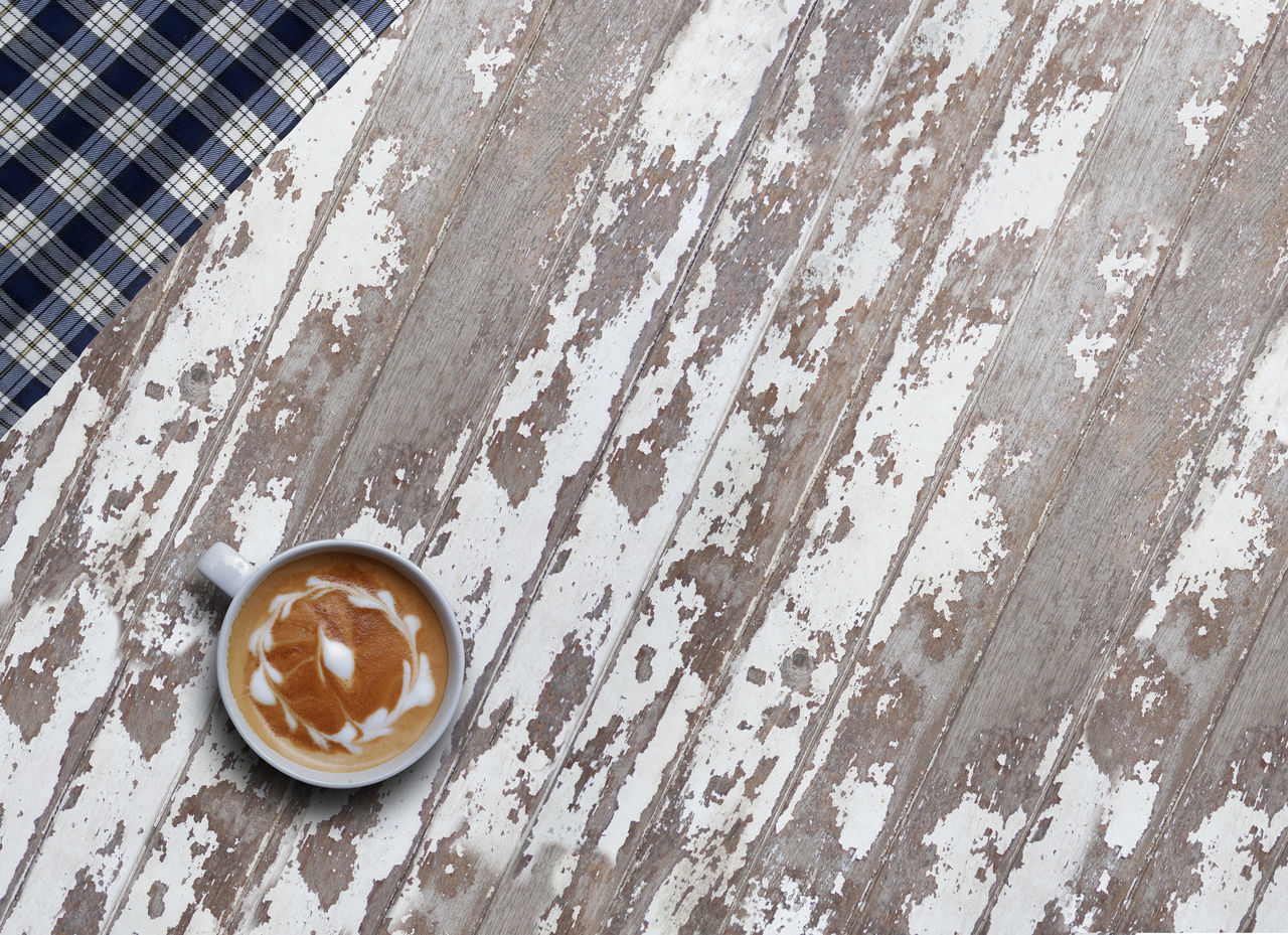 Backgrounds Caffine Cappuccino High Angle View Hot Latte Objektifimden Studio Table Textured  Vintage White