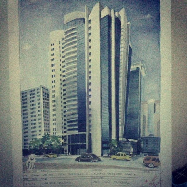 Throwback thursday plate! Vistech02 ~ Midterm Exam High Rise Building Watercolor Architorture Architecture Painting Watercolor buildings plate archi