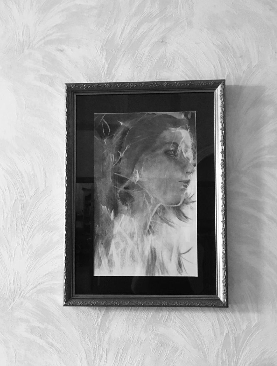 Drawing by Jim Gray. Interior Views Charcoal Drawing That's Me! Hanging Up Ohio, USA Portrait Of A Woman Drawing