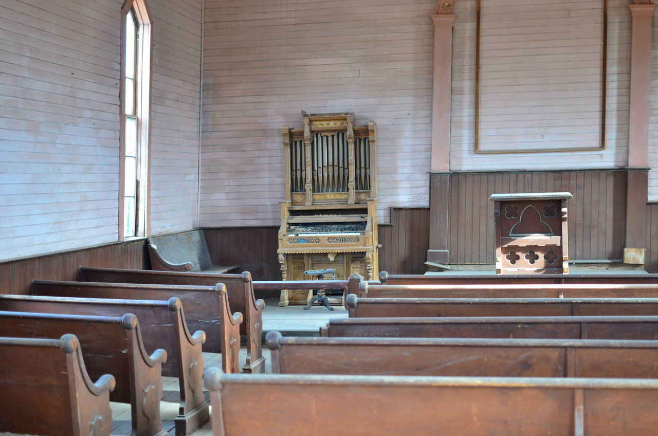 GONE Abandoned Bench Bodie Church Indoors  Kirche No People Organ Weathered