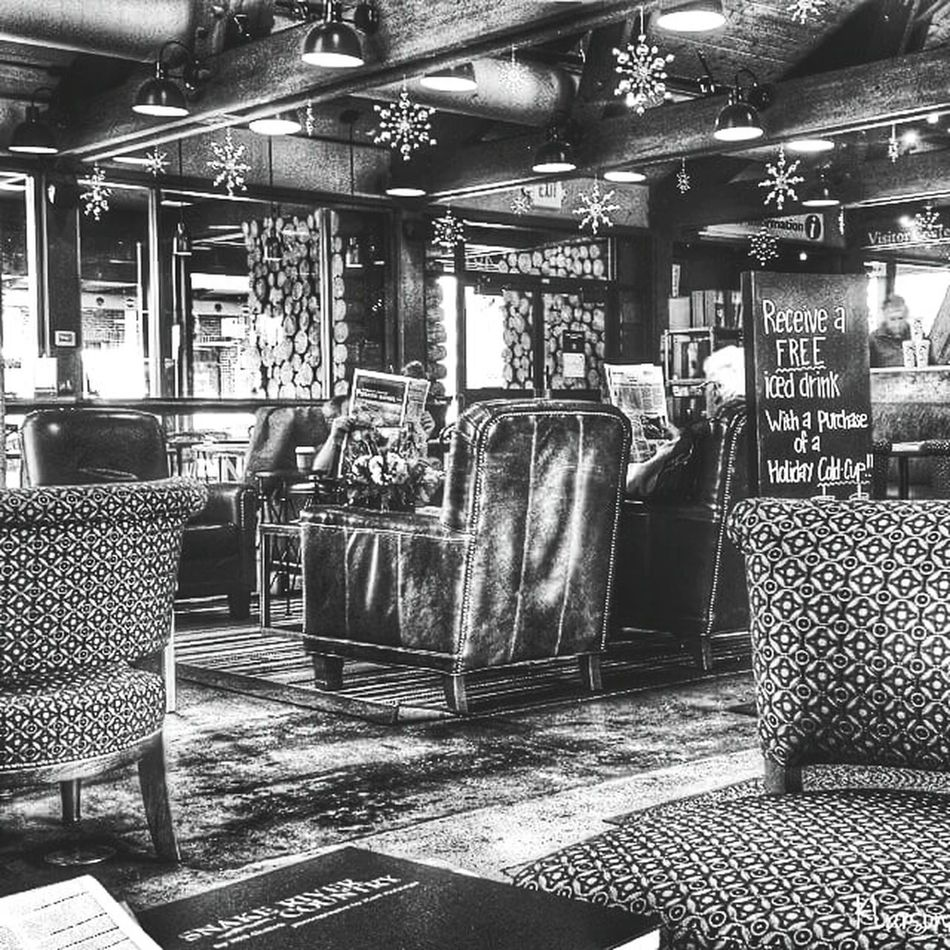 No People Large Group Of Objects Seat Indoors  Day Coffee Shop Chairs Chair Sun Valley Sun Valley Idaho Cold Outside Warmingup Coffee House Furnitures EyeEmNewHere Eyeemphotography Cozy Blackandwhite Blackandwhite Photography Vintage Vintage Style Black & White Shop Inside Built Structure