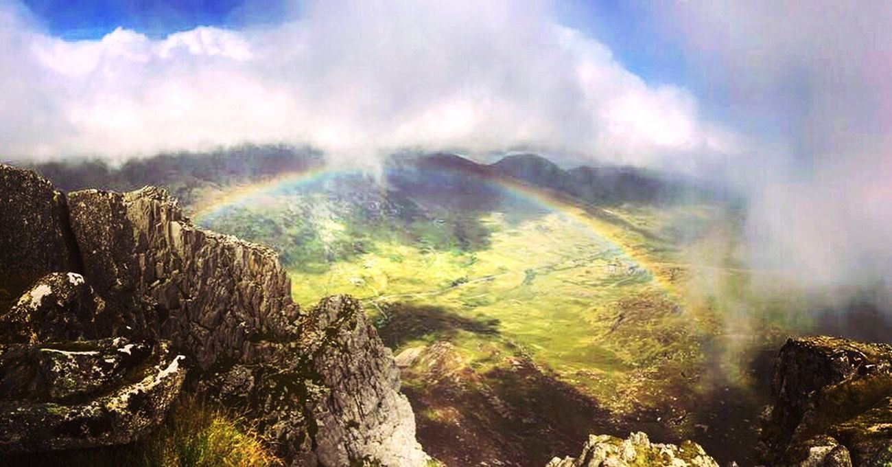 Top of tryfan in snowdonia Mountains Hiking Exploring Wales Scrambling Scramble Rainbow