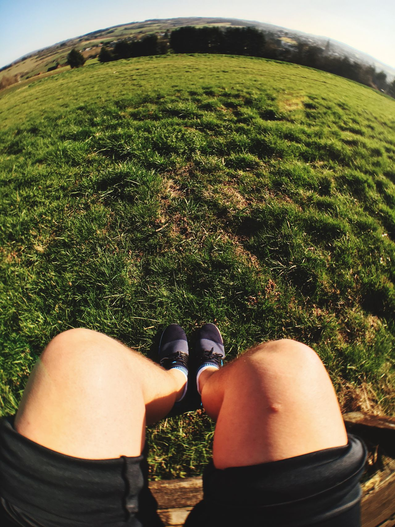 Real People Lifestyles Leisure Activity Grass Green Color Outdoors Men Nature Women Low Section Day One Person Fish-eye Lens Sky Human Leg Sunbathing Sun Legs Leg Fitness Fit Fitness Training Sport Sports Photography Sports