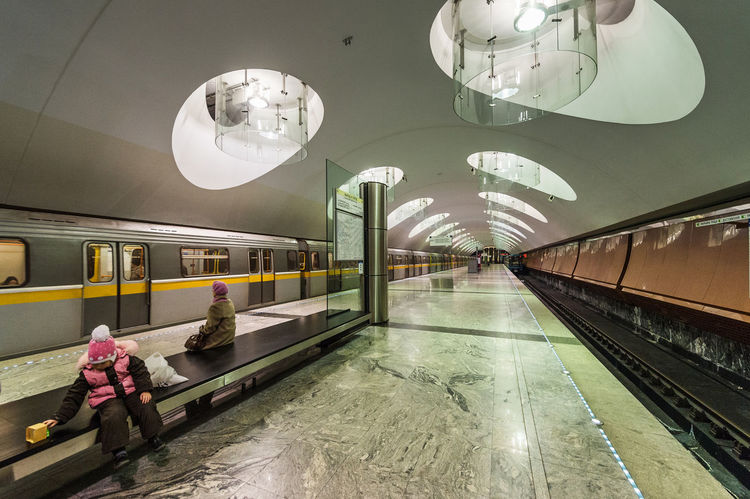 Russia, Moscow, metro, lighting Architecture Built Structure City Indoors  Night People Public Transportation Railroad Station Russia, Moscow, Metro, Lighting