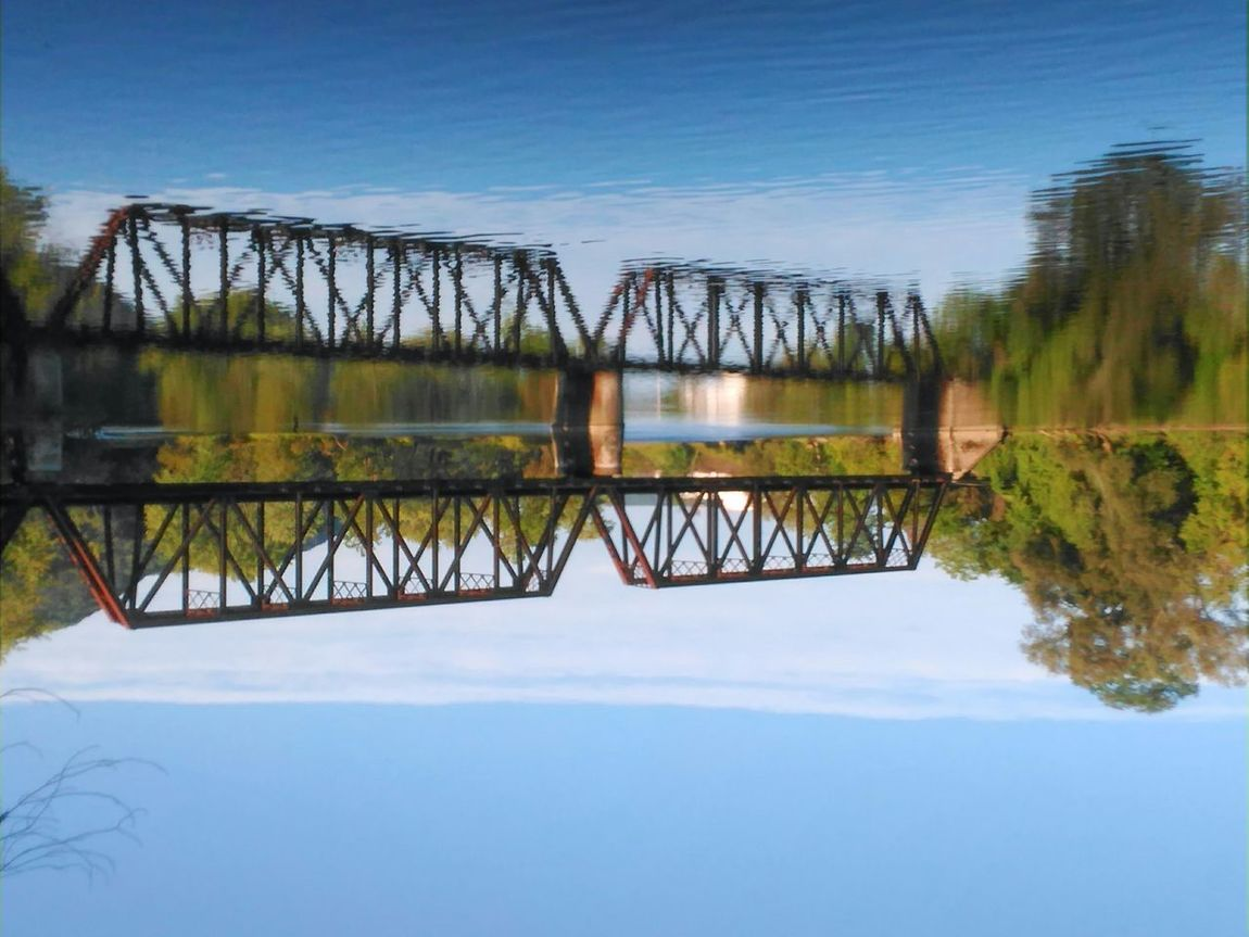 Love taking reflection pix and flipping them... Bridge - Man Made Structure Water Built Structure Architecture Nature Scenics Tranquil Scene Blue Calm No Filter, No Edit, Just Photography Train Tressel Being Creative. Expressing Myself. Flipped Image
