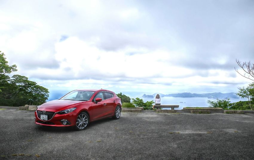 Transportation Cloud - Sky Car Day Sky Outdoors Red No People Landscape Nature Mazda 3 Sea Water_collection HRD Effects HDR Collection HDR エンゼルライン Red