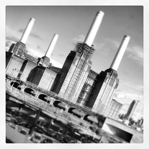Viewsfromatrain Battersea Power Station black and white