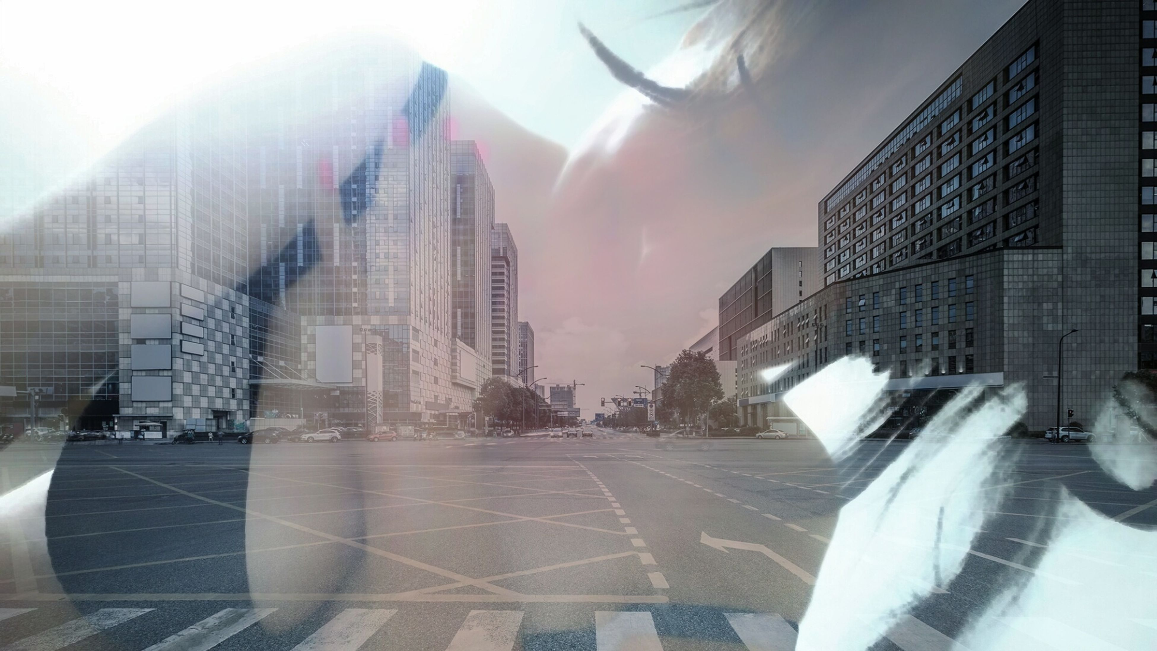 architecture, built structure, road, city, building exterior, transportation, lens flare, skyscraper, the way forward, sunbeam, city life, outdoors, day, long, tall - high, sky, urban scene, surface level, facade, office building, modern, tall, development, building story