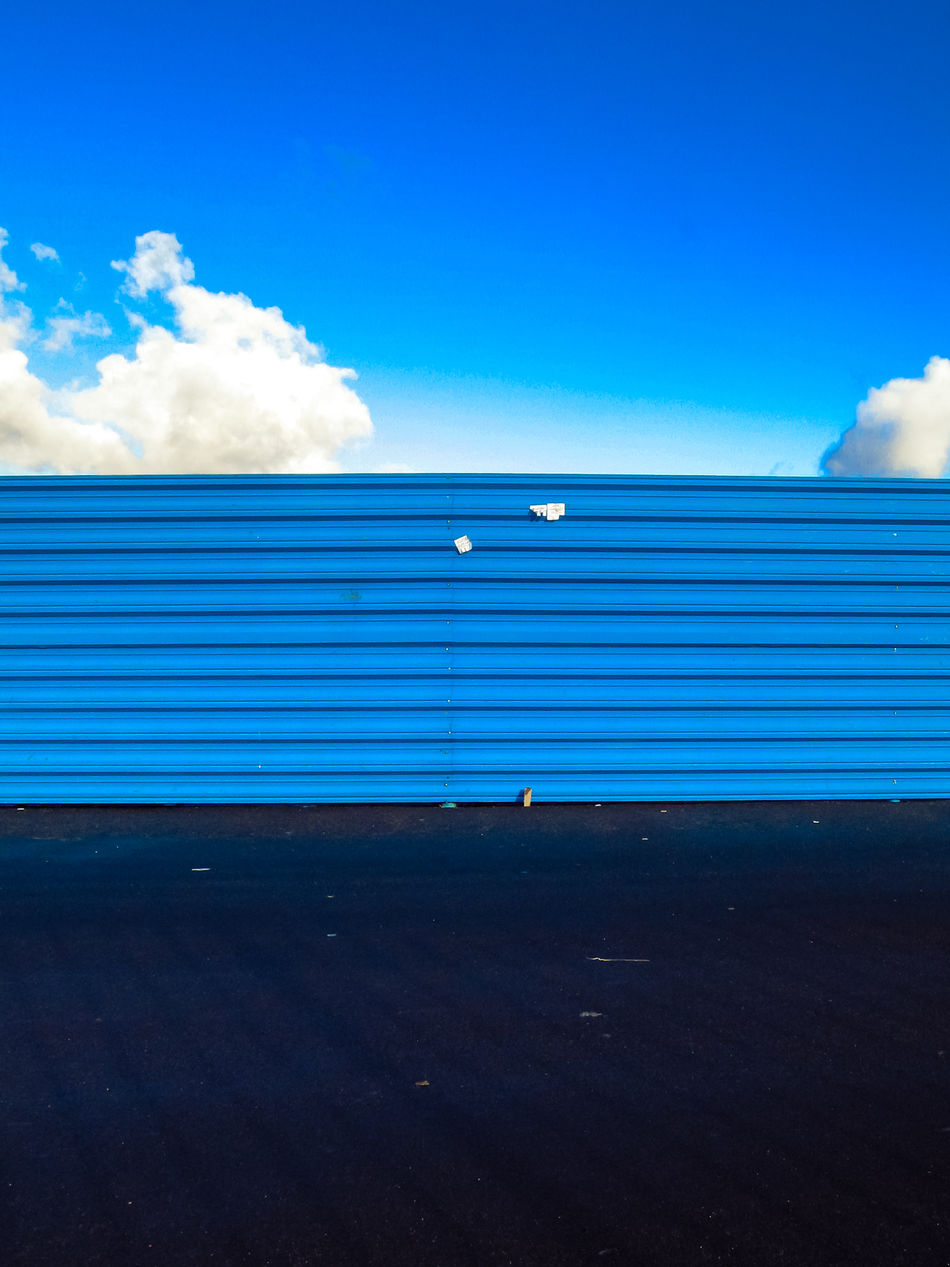 Blue Blue Color City Details Cloud - Sky Construction Fence Contrast Copy Space Day Minimalism Sky