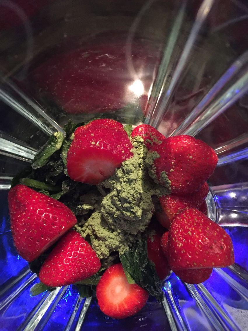 Strawberry Blender Smoothie Green Tea Powder Blue Light Mix Healthy Snacks!