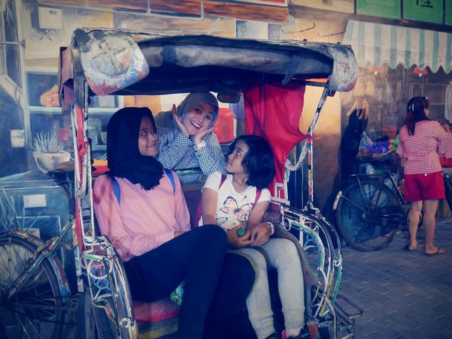 A tale of two sisters.. Women Togetherness Love Sitting Females Young Women Happiness Looking At Camera Lumix Gf7 Bandung, West Java Chinatown Vintage Vintage Style Becak Traditional Transportation