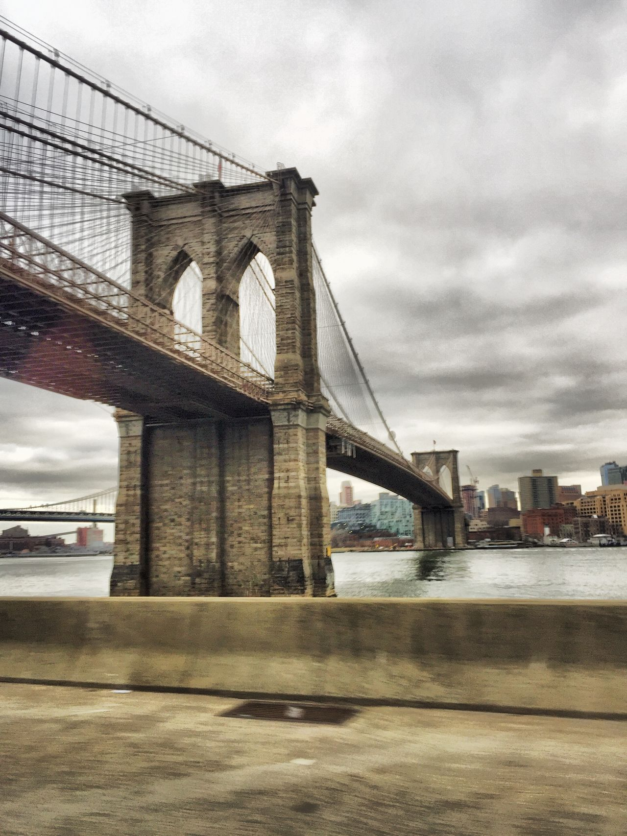 Architecture Blurred Motion Bridge Brooklyn Bridge  Built Structure City Cloud - Sky Clouds Connection Day Engineering HDR Movement Photography New York No People Outdoors River Sky Suspension Bridge Transportation Water