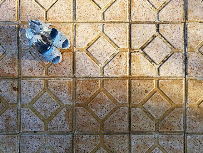 Blue Sandals Diamond Pattern Orange Color Sandals Tile Pattern Tiles