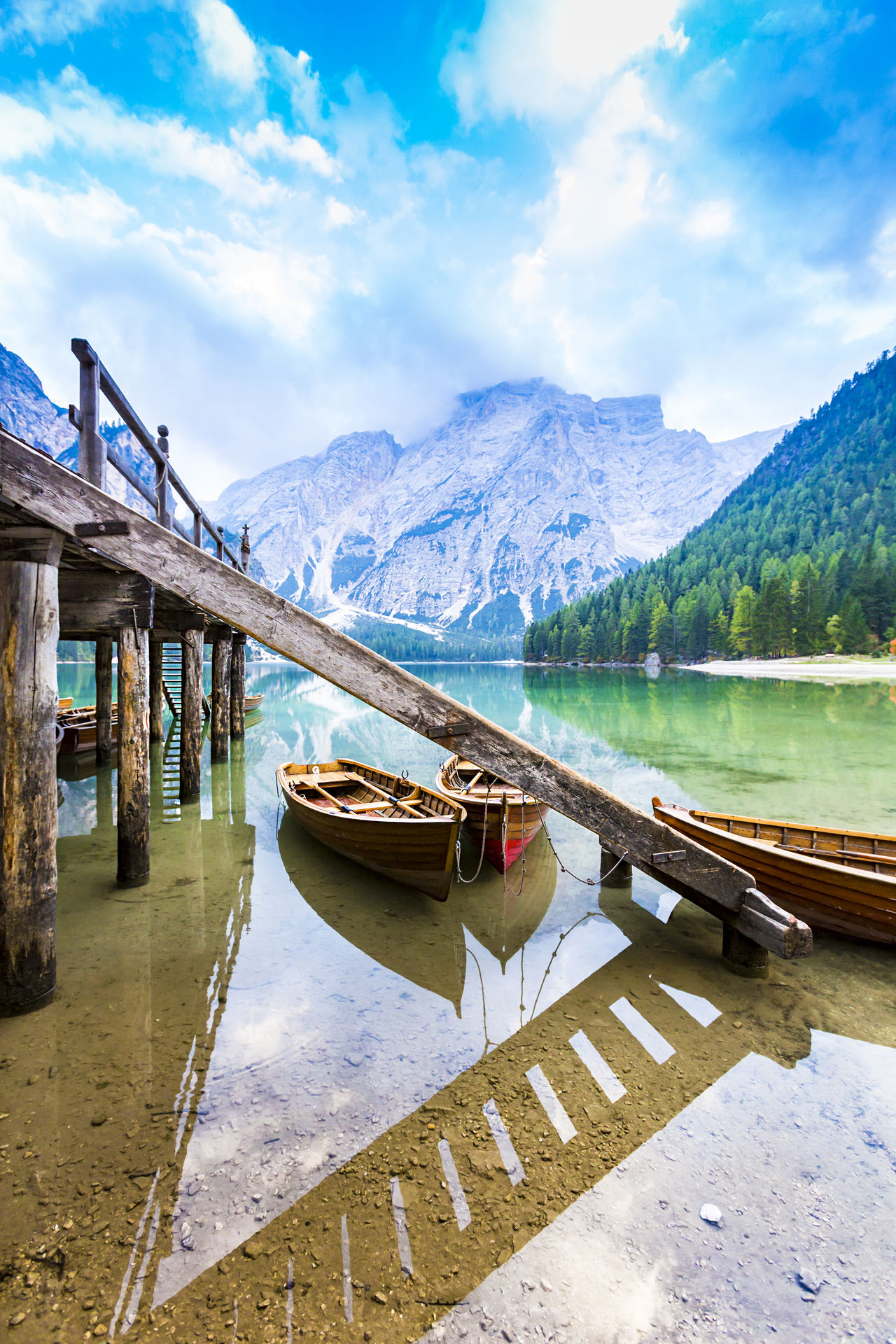 Old wooden boats at the Lago di Braies, South Tyrol Alps Alto Adige Boat Braies Calm Destination Dolomites Empty Gondola - Traditional Boat Hiking Holidays Innichen Italy Lago Lake Lake View Mirror Prags Pragser Wildsee Reflection Scenery Sexten South Tyrol Südtirol Travel